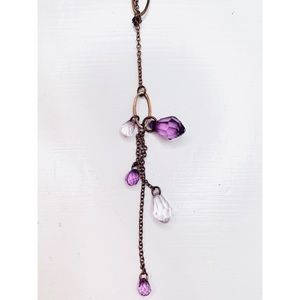 ✨4/20✨ Drop dangle necklace with purple beads